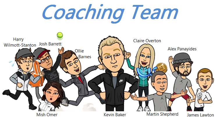 Cartoon of Portsmouth Tennis Academy Coaching Team