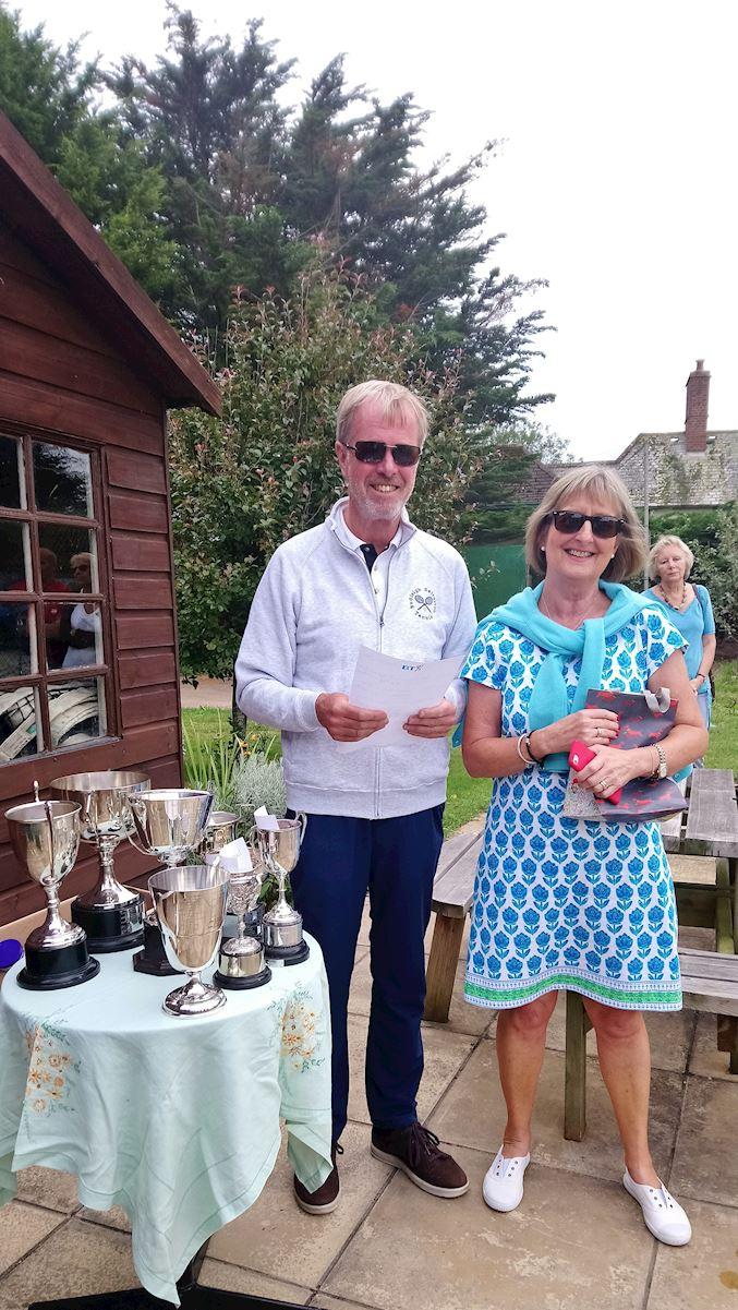 Tennis club Chair, Keith Ward, with former Chair, Mags Milne